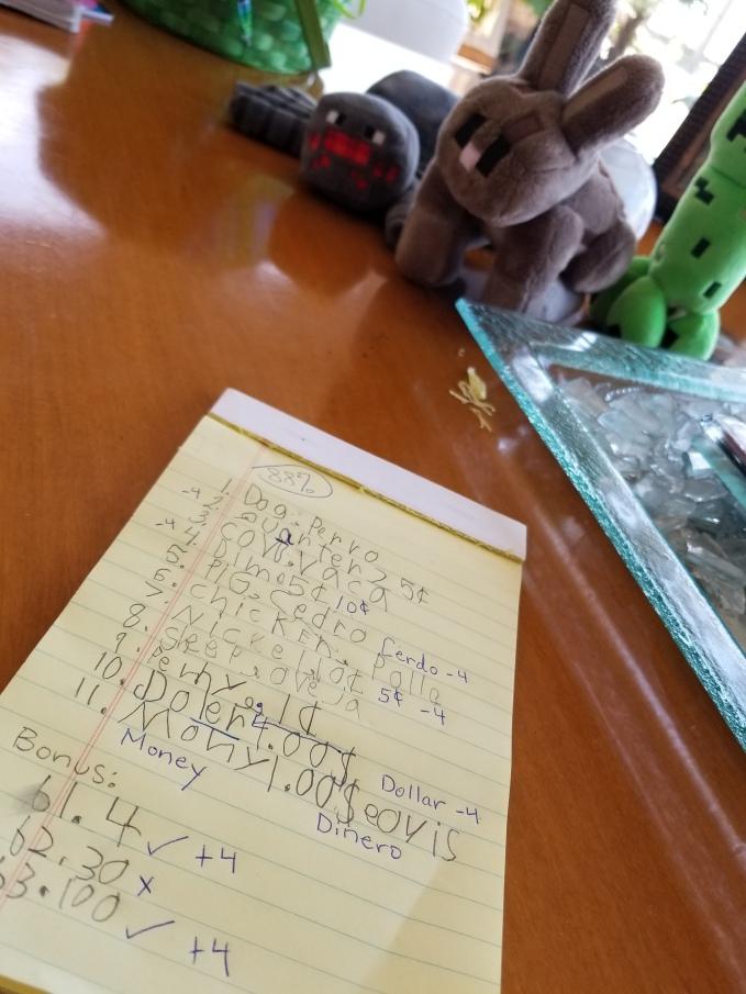 Sebastian's 1st Quiz - Spelling, Spanish & Coins
