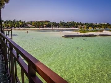 Looking back at the main resort beach